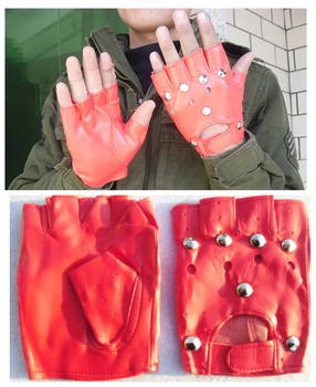 Red PU Leather Men And Women-Half-finger Gloves Performance Dance Performance Singer Outdoor Riding Cool Gloves Rivet Gloves