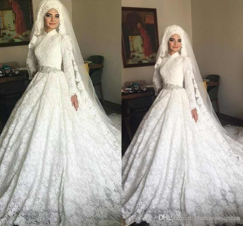 Us 18696 18 Off2020 Modest Arabic Muslim Full Lace Wedding Dresses A Line High Neck Long Sleeves Beaded Belt Formal Church Bridal Gowns On