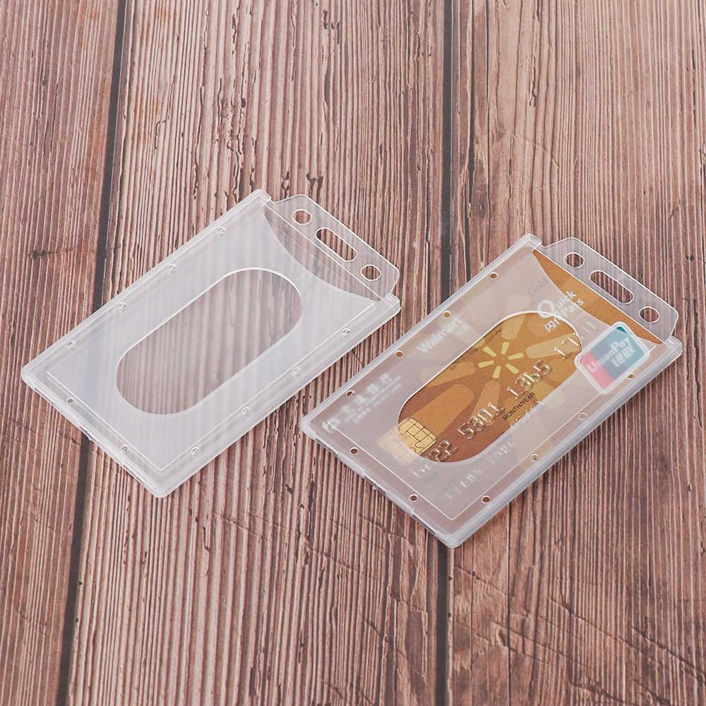 1 PC การออกแบบที่เป็นประโยชน์ ID Card ผู้ถือพลาสติกอะคริลิค Multi-use Hard พลาสติก Badge ID Card ผู้ถือ Protector ฝาครอบกรณี
