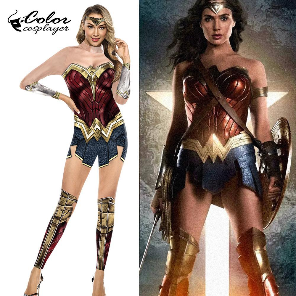 Color Cosplayer Movie Cosplay Wonder Woman Costumes Purim Carnival Bodysuit Super Hero Justice League Clothing