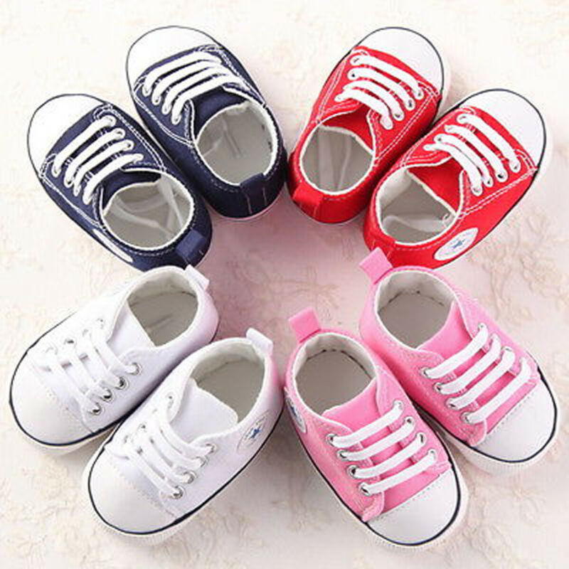 Newborn Baby Boy Girl Pram Shoes Toddler Pre Walker White Sneakers Trainer 0-18M