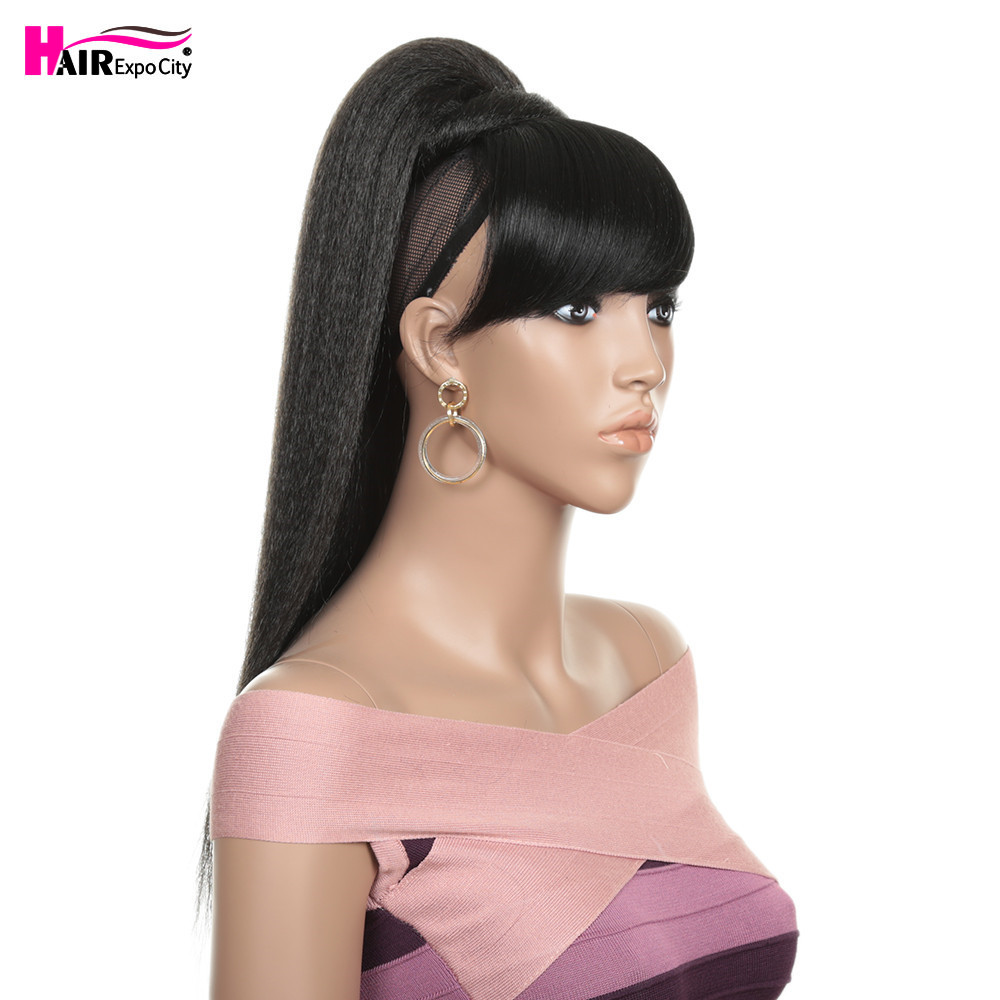 24''Fake Hair Straight Ponytail With Bang Piece Clip In Ponytail Hair Extensions Hairpieces Pony Tail For Women Hair Expo City