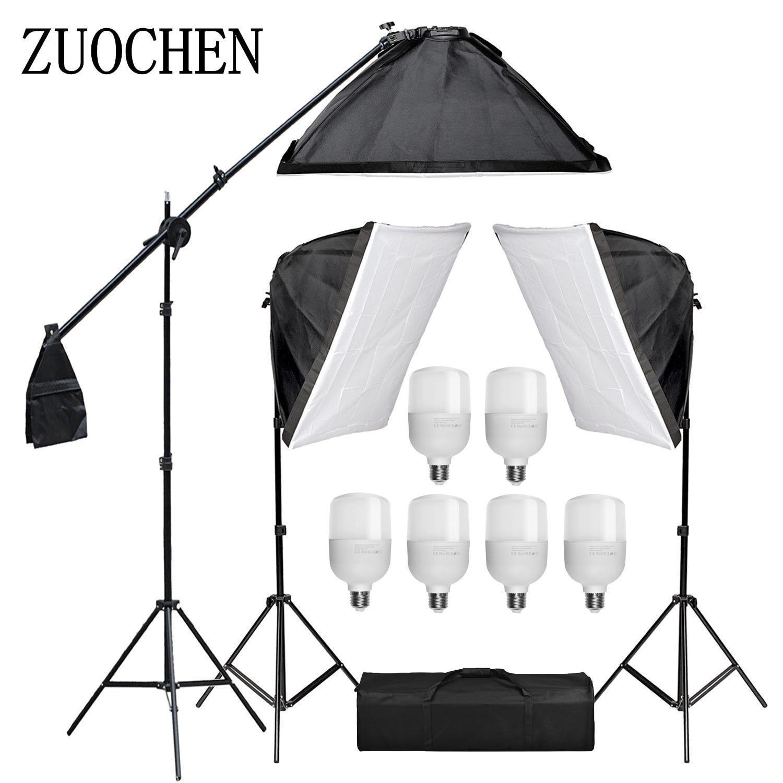 ZUOCHEN 6x25 Вт Светодиодный светильник для фотостудии комплект 50x70 см софтбокс светильник ing набор софтбоксов стрелы кронштейн светильник для ...