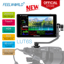 FEELWORLD 6 Inch 2600nits  Touch Screen 3D LUT HDR Camera Field DSLR Monitor with  Waveform for Stabilizer Youtube LUT6S