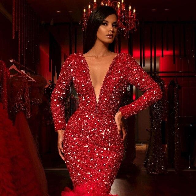 Фото vestidos красные вечерние платья с блестками и кристаллами длинным