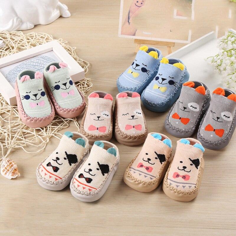 Spring Autumn Winter Cartoon Baby Socks Baby Steps Non-slip Leather Sole Cotton Children Floor Socks Baby Girl Boy Socks Newborn