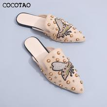 2020 Summer New Promotion Pointed Toe Head Rivet Embroidery Half Drag Female Wear Lazy Fashion Comfortable Mules promotion 7pcs embroidery 100