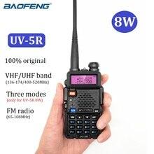 Real 8w baofeng UV-5R walkie talkie vhf uhf rádio em dois sentidos transceptor varredor uv5r portátil cb estação de rádio presunto para a caça