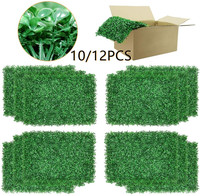 10/12PCS Boxwood Panels Artificial Faux Hedge Plant Outdoor Indoor Use Garden Fence Backyard Home Decor Greenery Walls