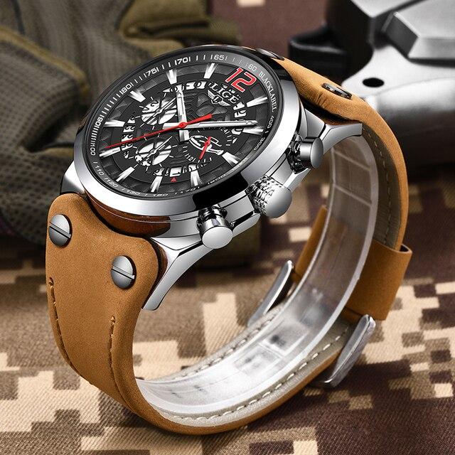 Мужские кварцевые часы с кожаным ремешком LIGE