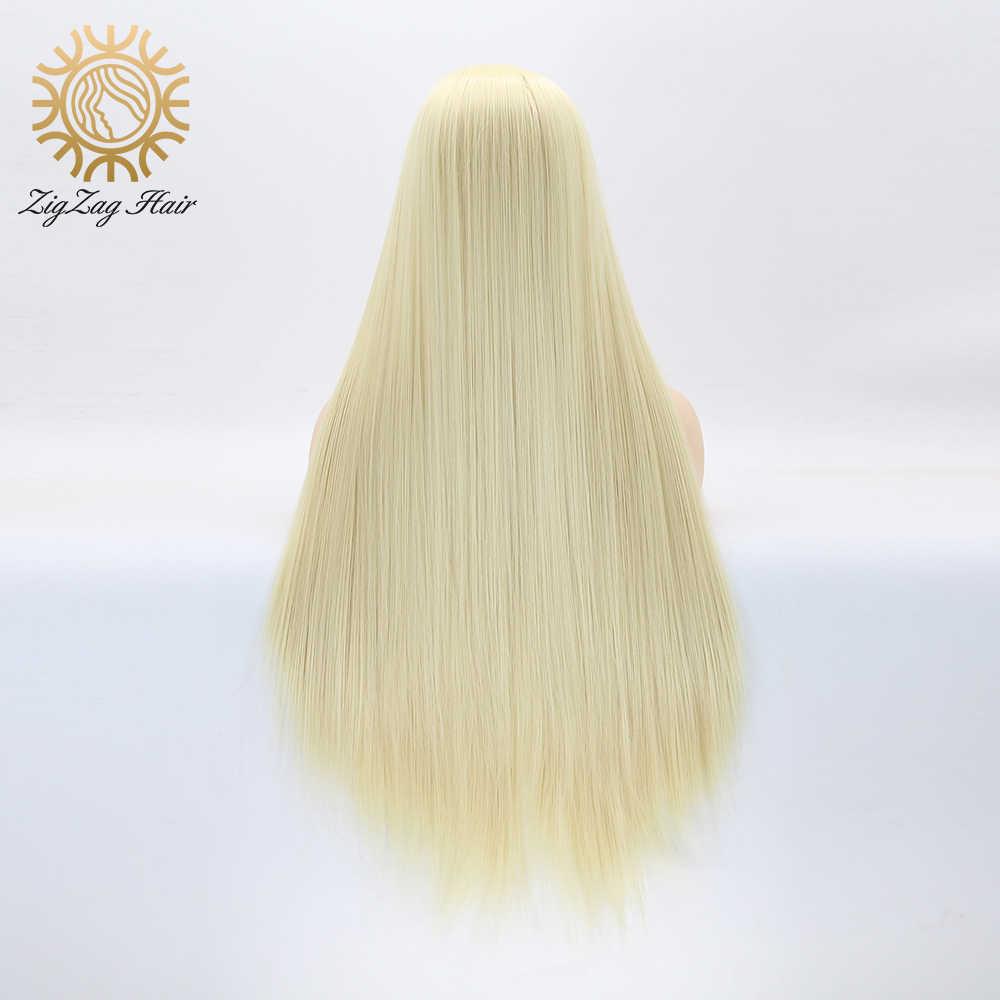 Zygzak Bleach blond #613 syntetyczna koronka przodu peruki dla kobiet proste włosy naturalną linią włosów 13x3 ręcznie wiązana blond peruka damska