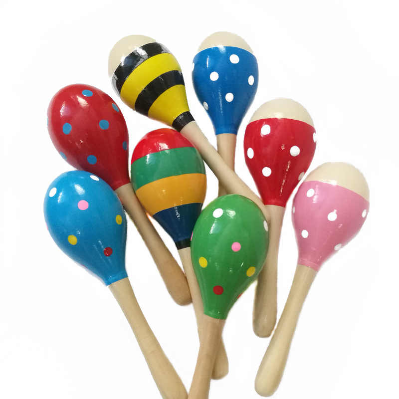 kids toy musical instrument Colorful Wooden Maracas Baby Child Musical Instrument Rattle Shaker Party Children Gift Toy