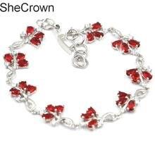 5x3mm Fancy Flowers Red Blood Ruby White CZ Womans Present Silver Bracelet 8.0-8.5in