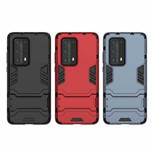 Luxury Armor Shockproof Silicone Phone Case For Huawei P30 Lite P40 Pro Plus Hard Pc Kickstand Back Cover Heavy Duty Bumper Capa