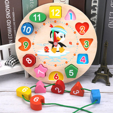 Wooden Clock Kids Toys Montessori Materials Educational Toys For Children Funny Geometric Beaded Blocks Learning Toys For Baby