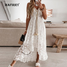 2021 Summer Casual V-Neck Lace Patchwork Dress Women Mid-Calf Dress Sexy Hollow Out Sleeveless Spaghetti Strap Dress Vestidos