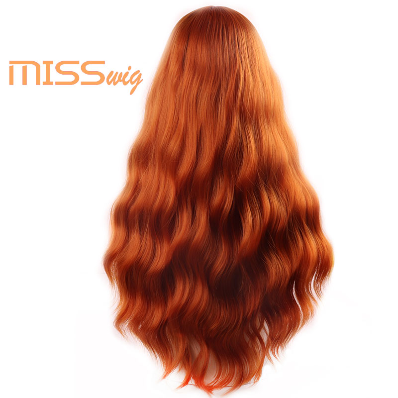 MISS WIG Long Wavy Wigs for Black Women African American Synthetic Hair orange Brown Wigs with Bangs Heat Resistant Wig 4