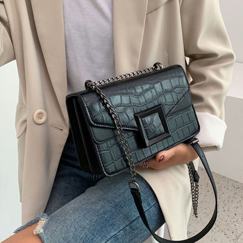 Stone Pattern PU Leather Crossbody Bags For Women 2020 Small Shoulder Messenger Bag Female Luxury Chain Handbags and Purses buylor women luxury shoulder bags crocodile pattern handbag female crossbody bag half round pu leather messenger bag