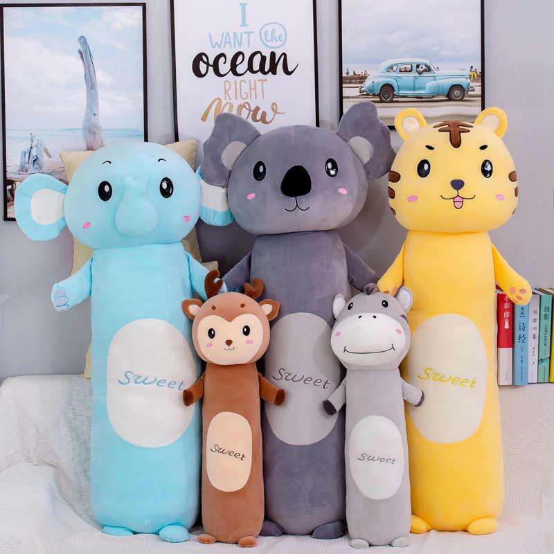 Neue 55-110cm Plüsch Tiere Kissen Ausgestopften Elefanten Esel Tiger Koalas Hirsche Spielzeug Weichen Mädchen Puppen Große Kissen kinder Geburtstag Geschenk