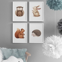 Wall Art Canvas Painting Cartoon Rabbit Owl Hedgehog Squirrel Nordic Posters And Prints Animal Pictures For Kids Room Decor