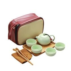 Portable Ceramic Teacup Set Vintage Kungfu Tea Mug Pot Tray with Storage Bag for Travel LXY9