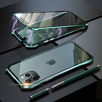 360 Full Protective Case For iphone 11 case Metal Magnetic Adsorption For iphone 11 pro max 2019 New Cases Cover Bumper Coque - For iPhone 11 Pro, dark green 360