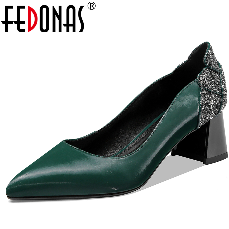 FEDONAS New Elegant Mature Fashion Wedding Casual Women Cow Leather Shoes Sequined Pointed Toe Thick Heel Shallow Shoes Woman