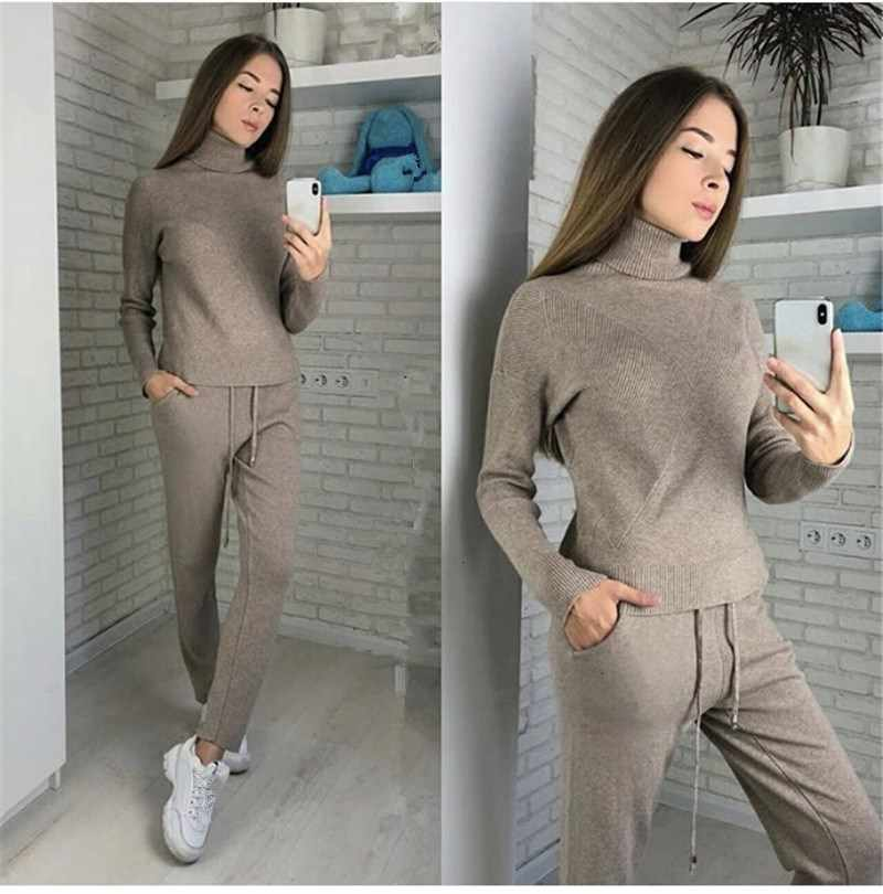 Womens High Collar Short Sweater Winter Warm Loose Kniting Pants Two-piece Set X