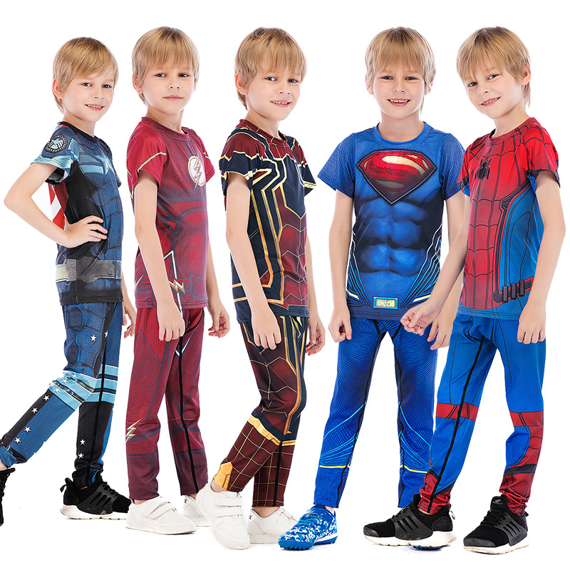 Child Boys Compression MMA Captain America Jersey+Pants Marvel Avengers Kids Boxing Set Ironman Spiderman Sets  Boy Sportsuits