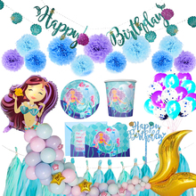 Girlish Little mermaid party supply Mermaid tail balloon birthday invitation card Kids parties decoration