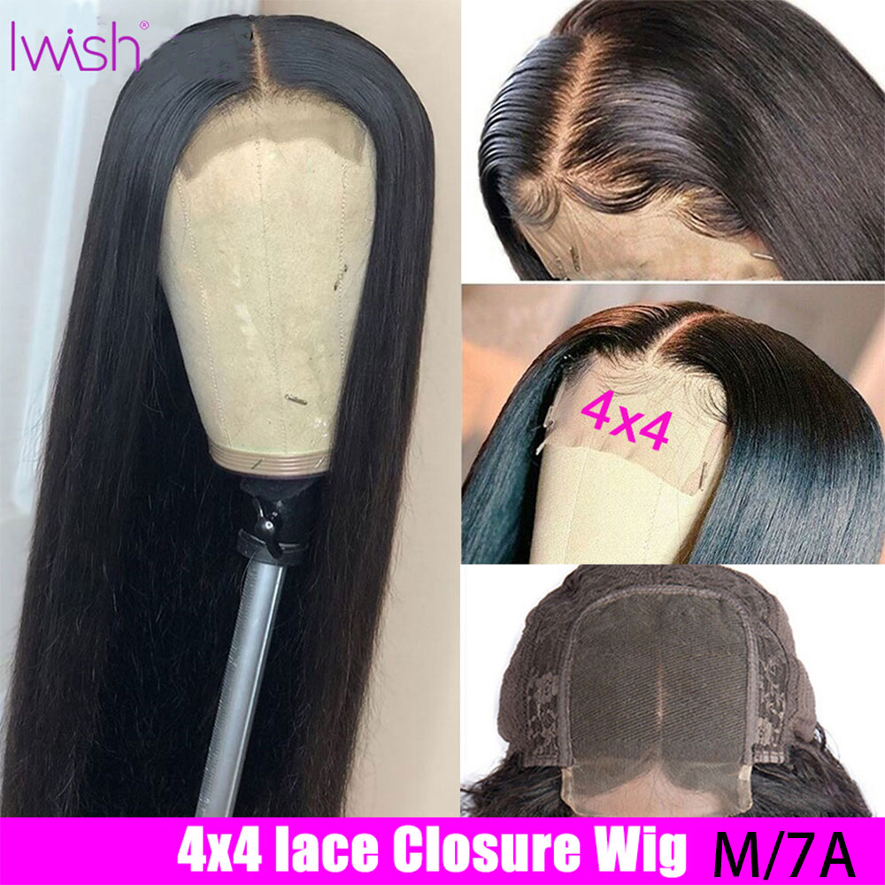 Closure Wig Straight Human Hair Wigs 4x4 Lace Closure Wig For Women 150% Density Iwish Brazilian Remy Human Hair Wigs