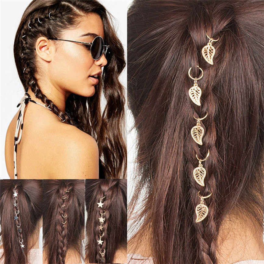Aksesoris Rambut Wanita Hip-Hop Braid Tangan Cross Shell Bintang Ring Rambut Klip Logam Geometris Lingkaran Jepit Rambut Emas Perak 2019 15
