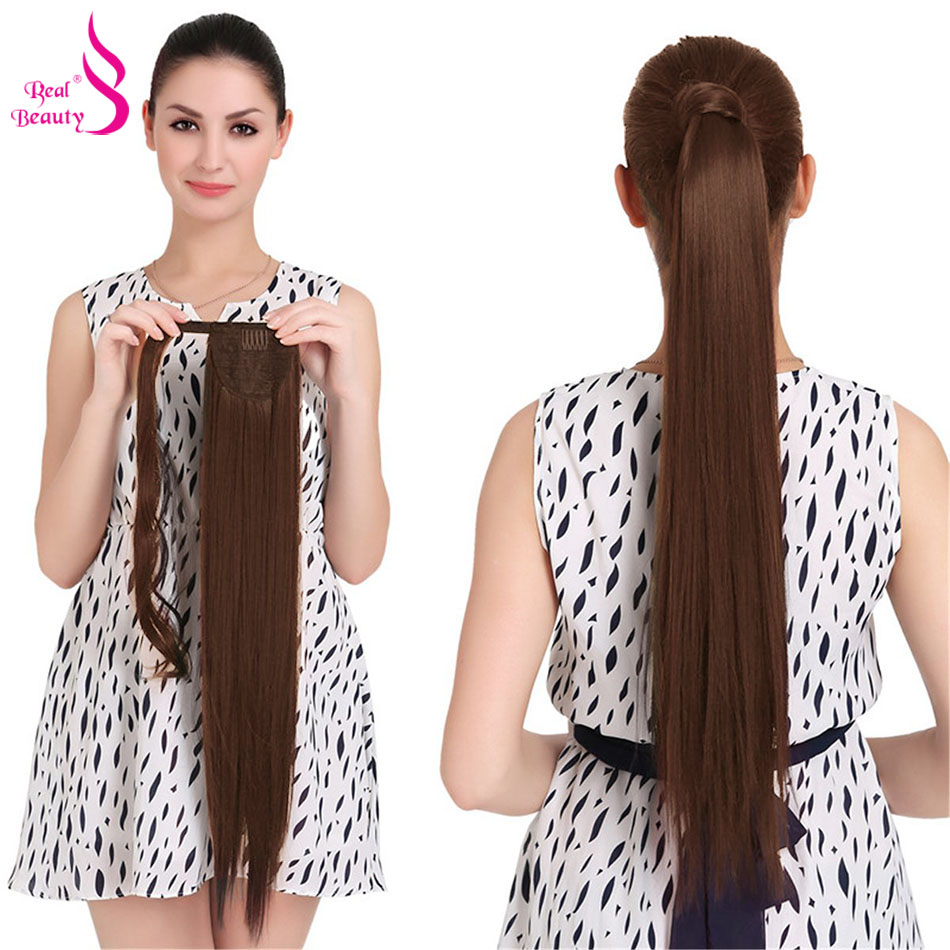 Real Beauty 120g Straight Ponytail Remy Hair Brazilian Ribbon Ponytail Clips-in Human Hair Extensions Horsetail Machine Made