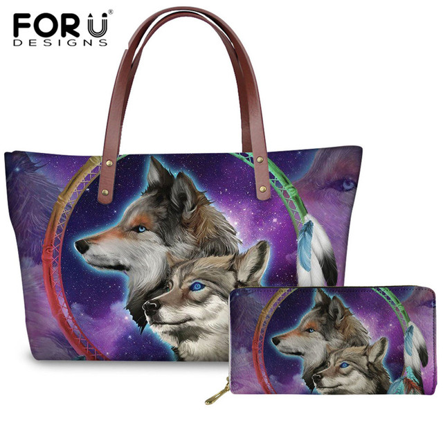 FORUDESIGNS Ladies Shoulder Bag Cool Wolf Animal Print Woman Large Handbag Casual Beach Bags Female PU Long Purse Bolsa Feminina