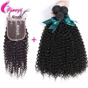 Brazilian Human Hair Bundles With Closure 10-28inch Human Hair 3 bundles With Lace Closure Remy Kinky Curly Bundles With Closure
