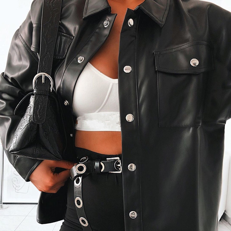 JIEZuoFang  Punk Style Women Autumn Leather Jacket Turn down Collar Streetwear Cool Jackets Ladies Pocket Oversized Pop Jackets