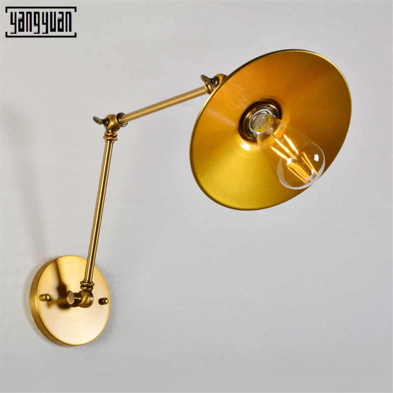 wall lamp vintage Gold Fixtures led Wall Sconce Industrial vanity Light Loft E27 Bulb Iron Retro Home Deco Bedroom Desk Lighting