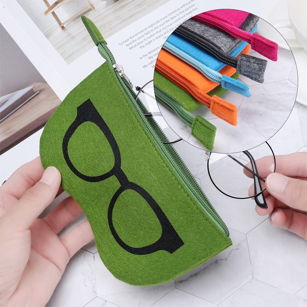 1Pc Unisex Felt Glasses Case Bag Sunglasses Case Box Portatives Soft Zipper Soleil Lunettes De Soleil Protector Sunglasses Pouch