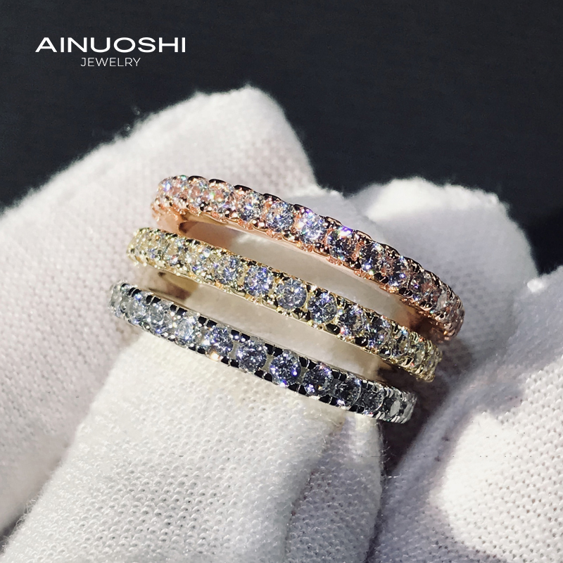 AINUOSHI 925 Sterling Silver Round Cut 1.4mm Simulated SONA Diamond Full Eternity Rings Wedding Bands Birthday  Jewelry Gift