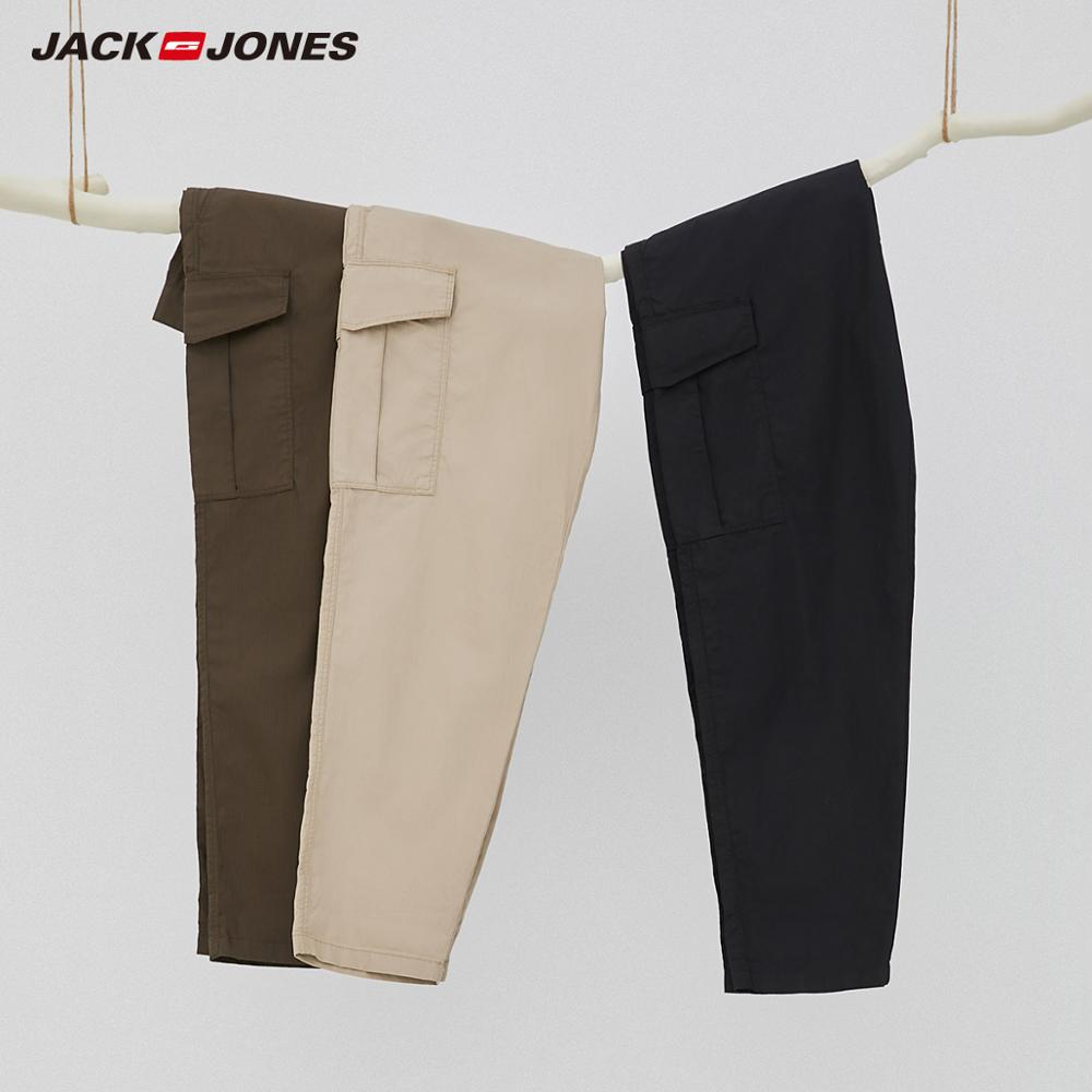 JackJones Men's Big Pockets Tapered Casual Cargo Crop Pants|streetwear Pants 219214508