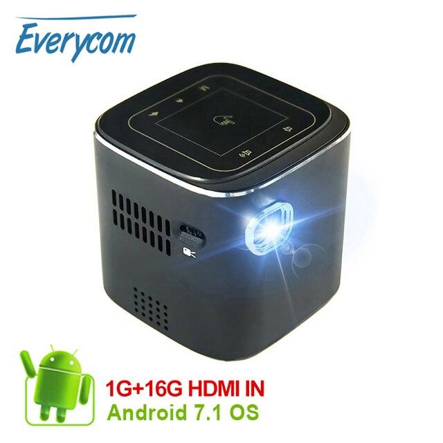جهاز عرض معالجة رقمية للضوء صغير أندرويد جيب LED عارض فيديو لكامل HD 1080P مع واي فاي بلوتوث بطارية متعاطي المخدرات المسرح المنزلي السينما