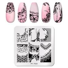 Pict você laço quadrado série prego stamping placas stencil ferramentas de aço inoxidável arte do prego selo design para diy placa de imagem