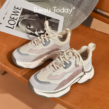 BeauToday Chunky Sneakers Women Nylon Mesh Leather Mixed Colors Lace Up Closure Platform Comfy Lady Casual Shoes Handmade 29352