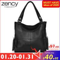 Bolso de mujer con borla Zency 100% bolso de hombro de cuero genuino de moda para mujer bolso bandolera blanco bolso de Hobos