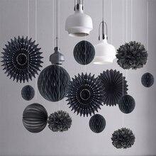 15pcs Black Birthday Party Decorations Set Paper Fans/Lanterns Pom Honeycomb Ball Wedding Supplies Home