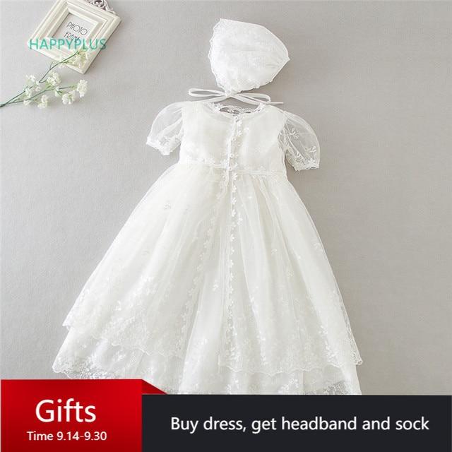 HAPPYPLUS Vintage vaftiz elbise bebek kız için Frocks dantel bebek duş elbise için vaftiz ikinci ilk doğum günü kıyafet kız