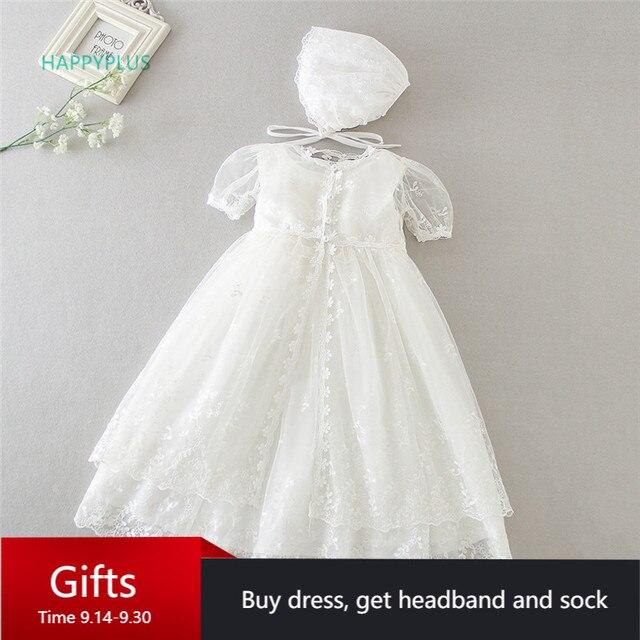 فستان عتيق من HAPPYPLUS لحفلات التعميد للأطفال البنات فستان دانتيل لحفلات استحمام الطفل من أجل المعمودية في الثانية الأولى لأزياء أعياد الميلاد للفتيات