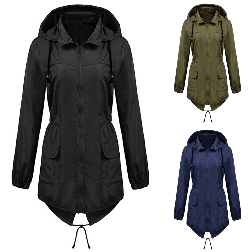 abrigos mujer invierno 2020 winter coat women Solid Rain Jacket Outdoor Plus Size Waterproof Windproof Loose Coat  manteau femme