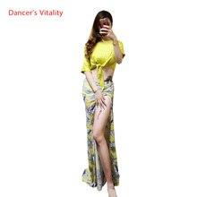 For Women Belly Dance Clothing Mesh With Short Sleeves Top +Split Skirt 2 pcs. Belly Dance Set for Girls Belly Dance Costume