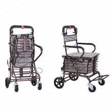 Foldable Shopping Cart Can Sit and Push Scooter Four Wheels Folding Trolley For Elderly Shopping Cart with Brake/Storage Basket